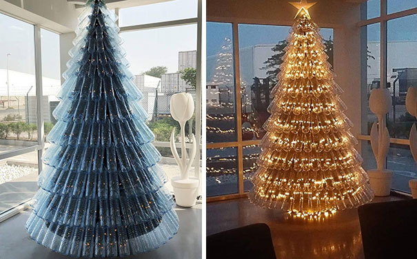 17. 'Green' Christmas Tree From Recycled Plastic Drinking Bottles