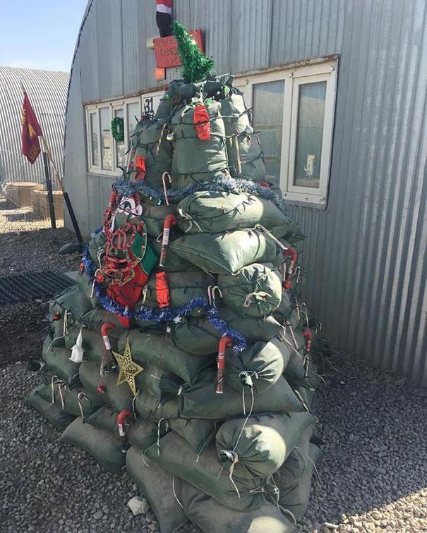 29. Festive Christmas Tree Out Of Sandbags