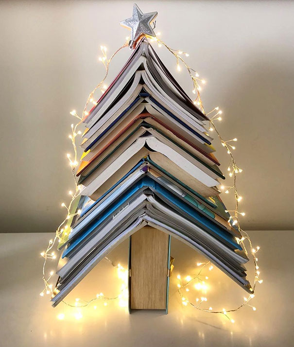 39.Minimalist Book Christmas Tree For A Bedroom Side Table