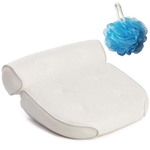 GORILLA GRIP Original Premium Spa Bath Pillow with 6 Suction Cups