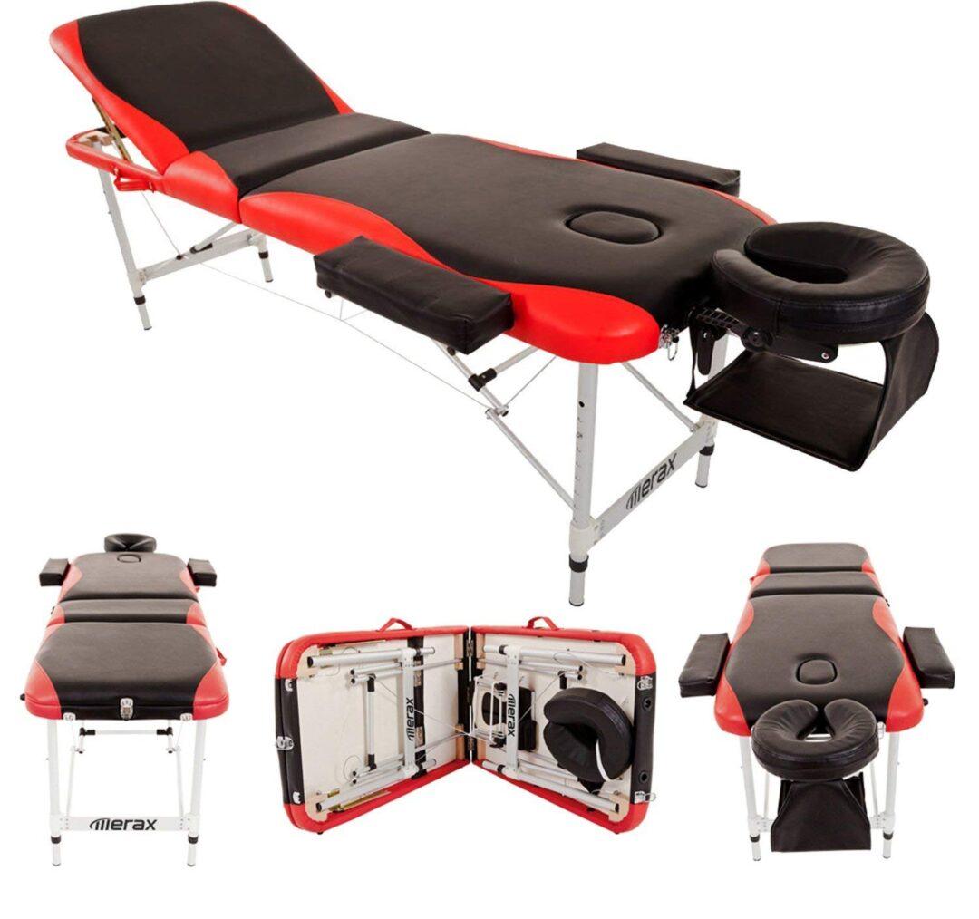 Merax Aluminium 3 Section Portable Folding Massage Table Facial SPA Tattoo Bed