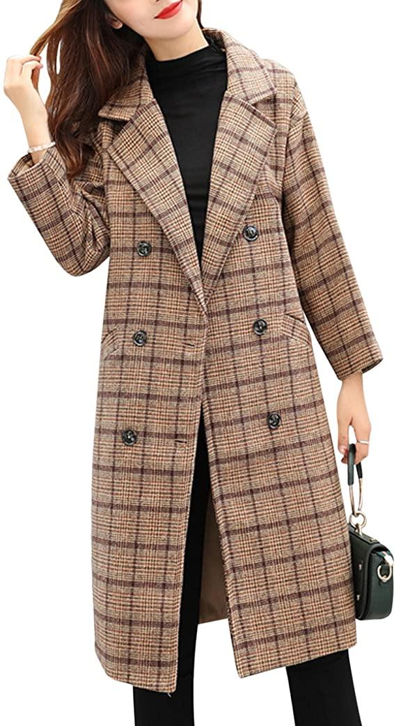 Long Plaid Wool Blend Pea Coat