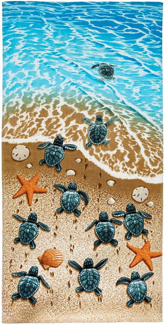 Turtles on The Beach Towel